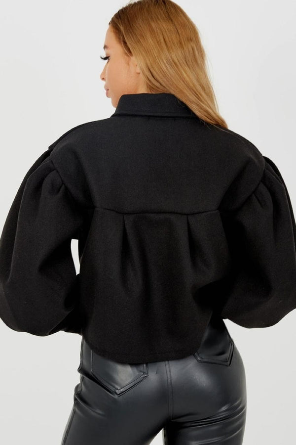 Balloon Sleeve Thick Cropped Jacket-Black - 2
