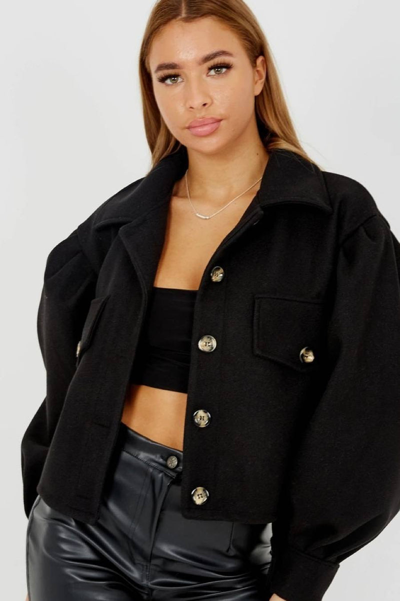 Balloon Sleeve Thick Cropped Jacket-Black - 1