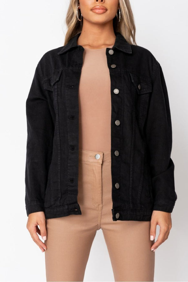 Black Oversized Denim Jacket - 2
