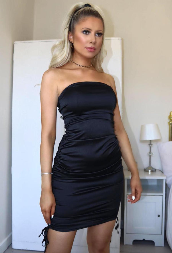Strapless Stretch Satin Ruched Mini Dress - Black