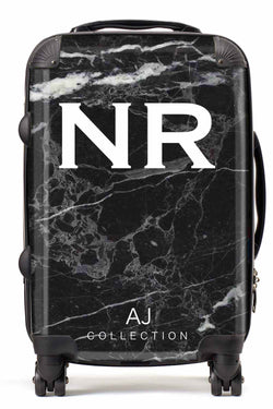 Personalised Initial Black Marble Suitcase - Small Cabin Luggage