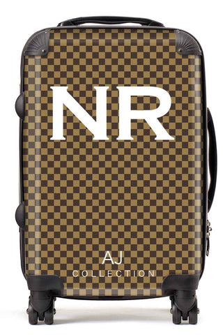 Personalised Initial Checkered Suitcase - Small Cabin Luggage