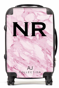 Personalised Initial Pink Marble Suitcase - Small Cabin Luggage