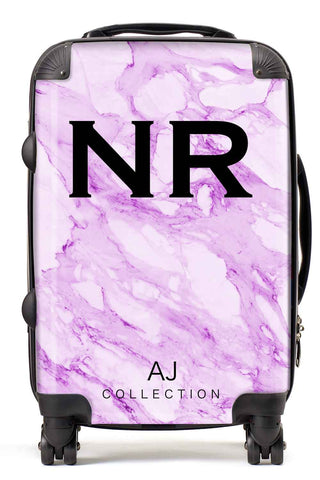 Personalised Initial Purple Marble Suitcase - Small Cabin Luggage