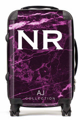 Personalised Initial Magenta Marble Suitcase - Small Cabin Luggage