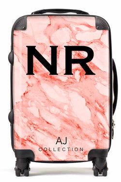 Personalised Initial Red Marble Suitcase - Small Cabin Luggage