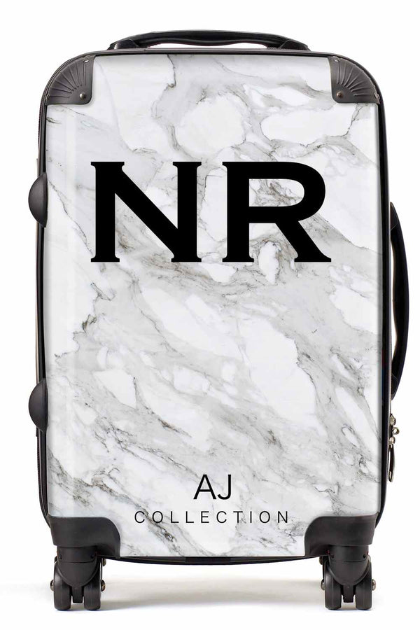 Personalised Initial White Marble Suitcase - Small Cabin Luggage