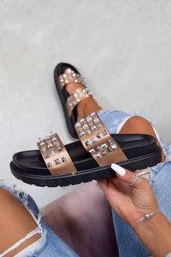 CALL ME Chunky Studded Sandals - Black/Rose Gold