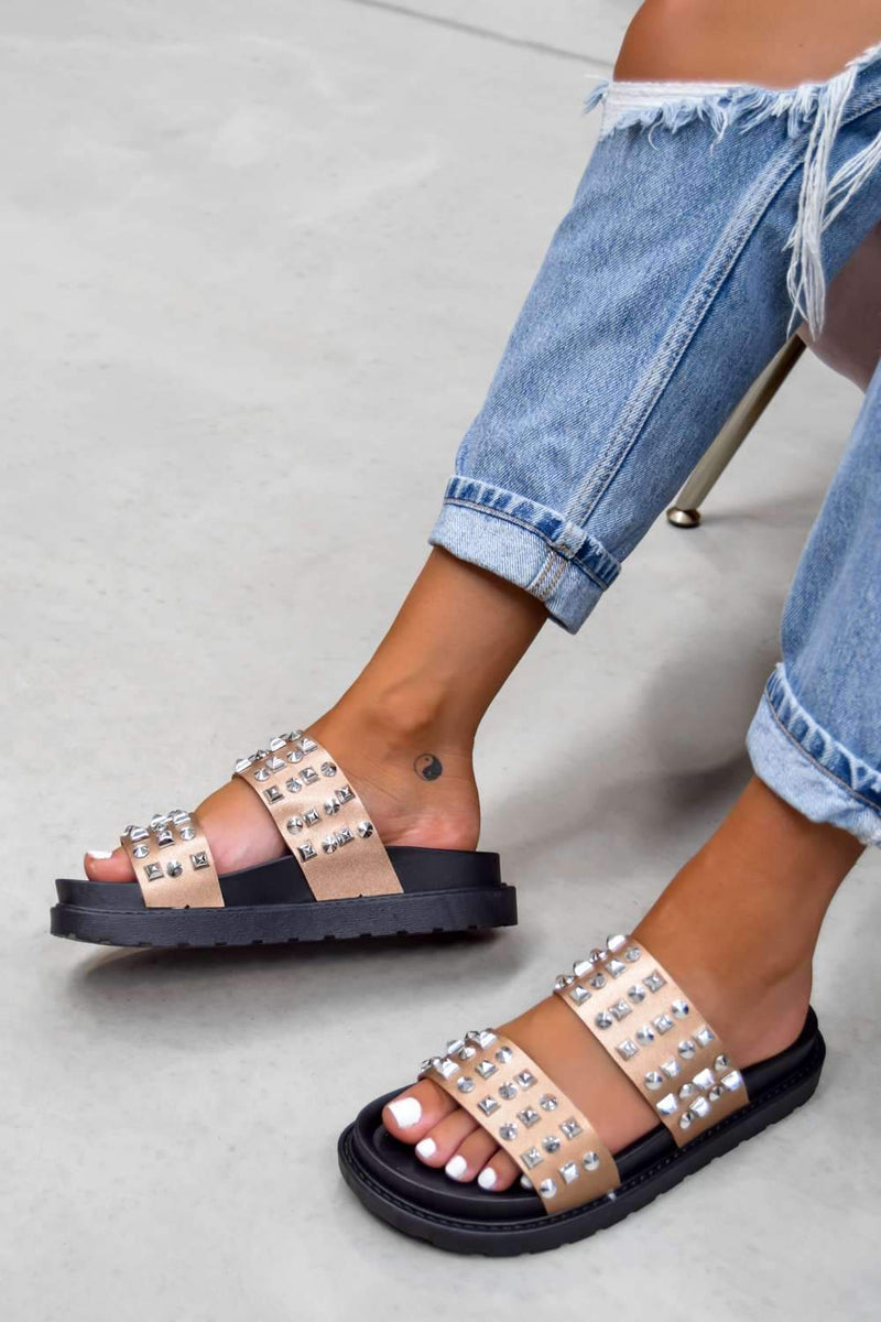 CALL ME Chunky Studded Sandals - Black/Rose Gold - 2