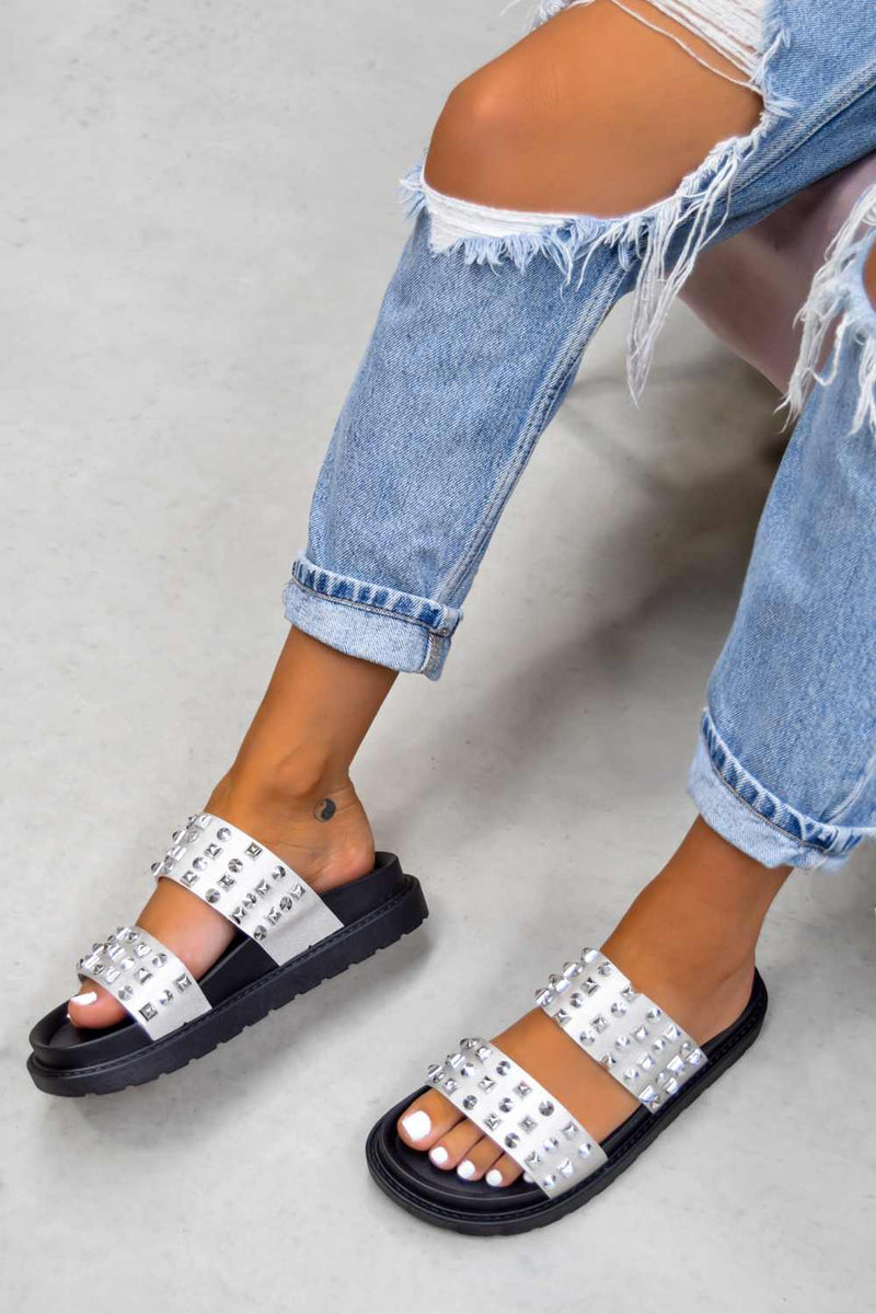 CALL ME Chunky Studded Sandals - Black/Silver- 2