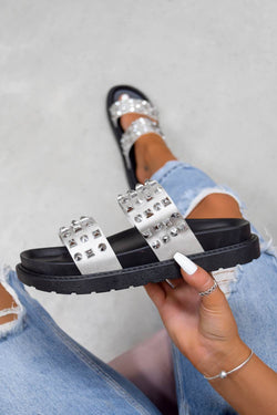 CALL ME Chunky Studded Sandals - Black/Silver