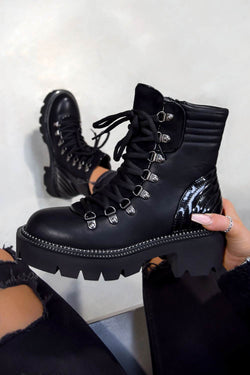 CARMEN Chunky Platform Lace Up Ankle Boots - Black