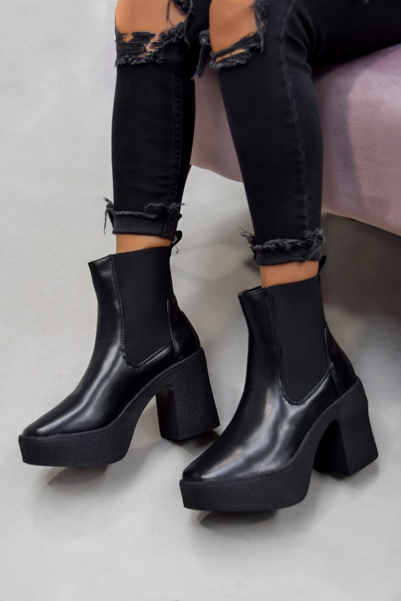 CERIS Platform High Heeled Ankle Boots - Black PU - 2
