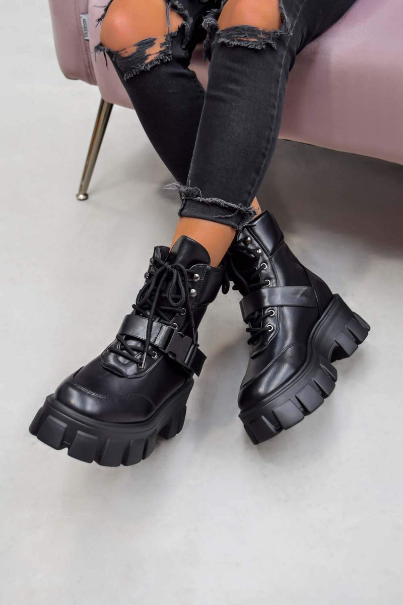 CHAOTIC Chunky Sole Buckle Ankle Boots - Black PU - 1