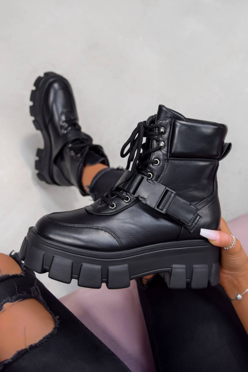 CHAOTIC Chunky Sole Buckle Ankle Boots - Black PU