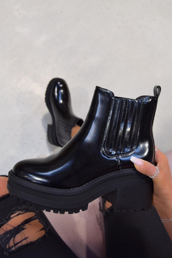 CHELLA Chunky Chelsea Ankle Boots - Black PU