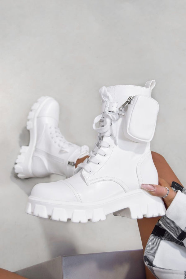 COMMANDER Chunky Platform Pocket Detail Ankle Boots - White PU