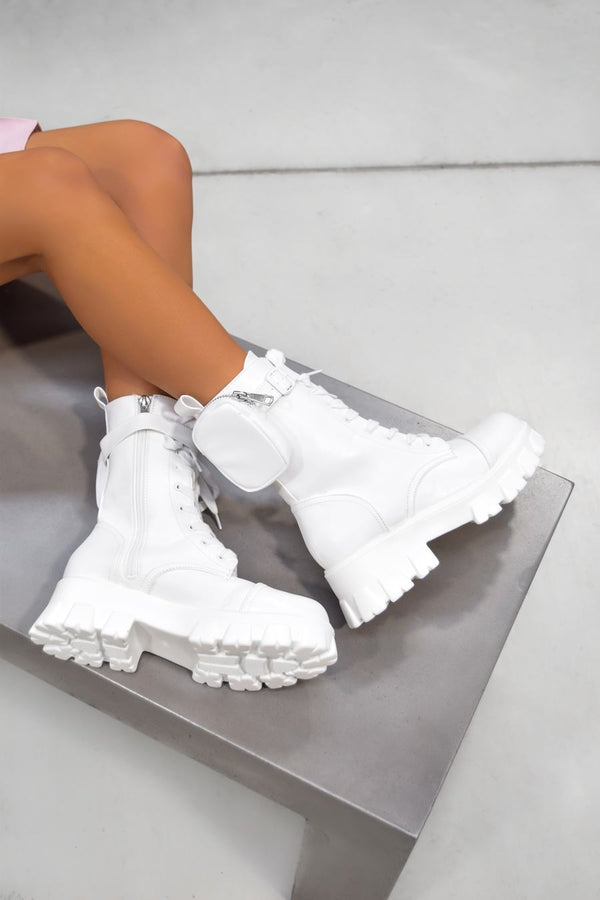 COMMANDER Chunky Platform Pocket Detail Ankle Boots - White PU - 1