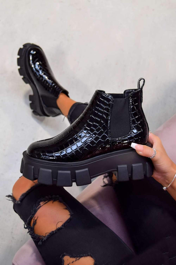 COMMAND Chunky Platform Chelsea Ankle Boots - Black Croc