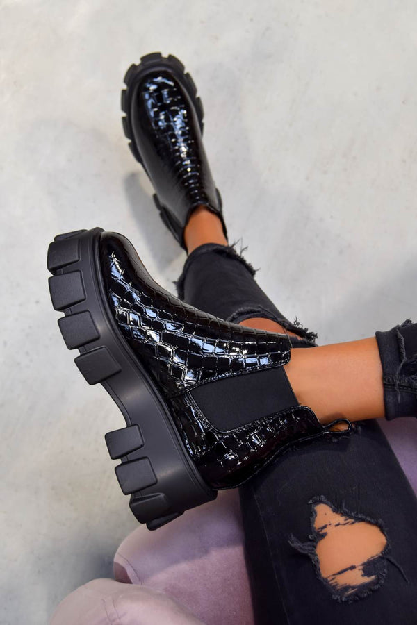 COMMAND Chunky Platform Chelsea Ankle Boots - Black Croc - 1