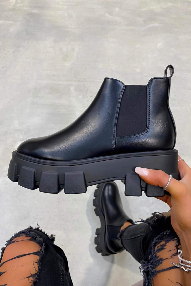 COMMAND Chunky Platform Chelsea Ankle Boots - Black PU