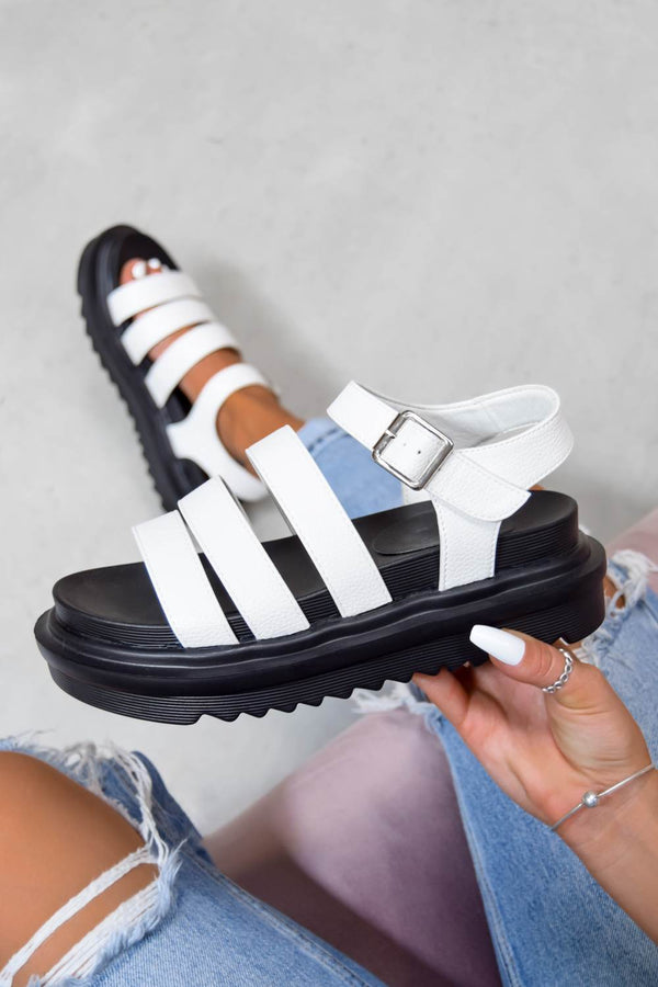 CONTROL Chunky Buckle Sandals - White