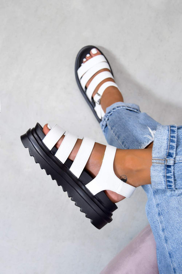CONTROL Chunky Buckle Sandals - White - 1