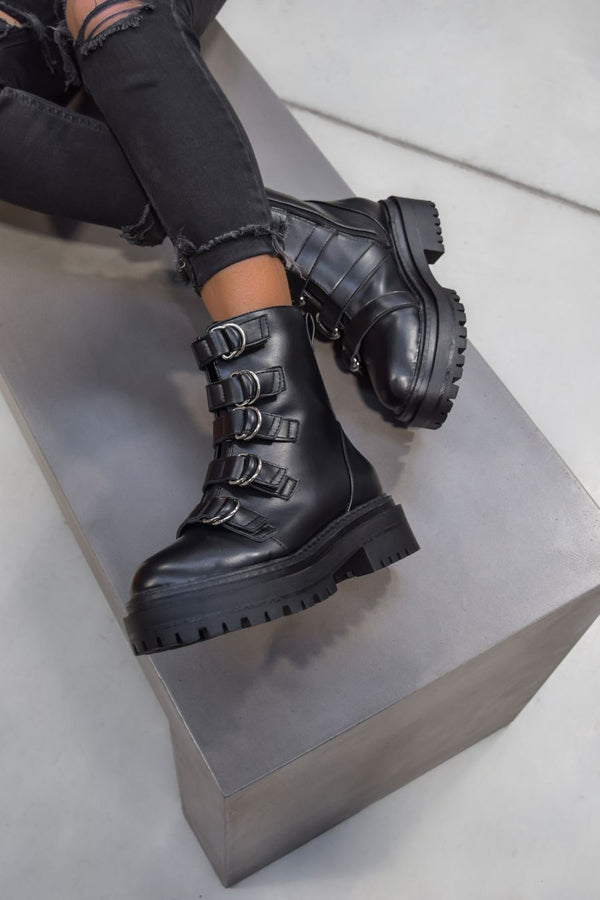 CONTROL Chunky Platform Ankle Boots - Black PU - 1