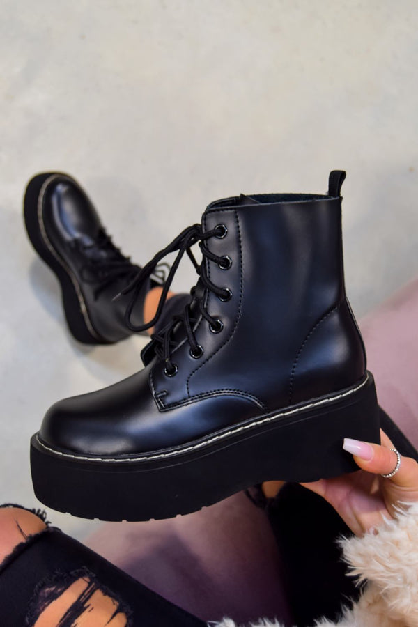 CONTROL Chunky Platform Lace Up Ankle Boots - Black PU