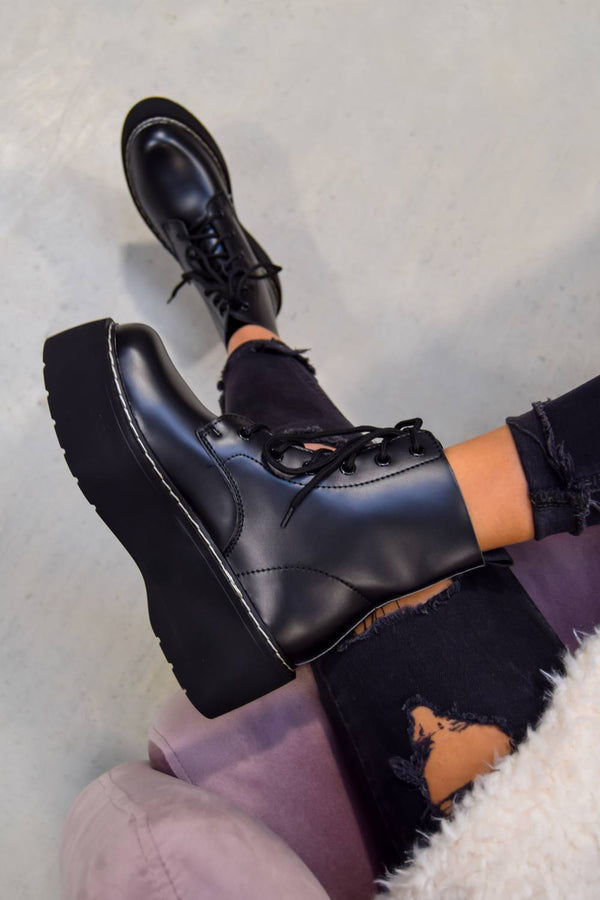 CONTROL Chunky Platform Lace Up Ankle Boots - Black PU - 1