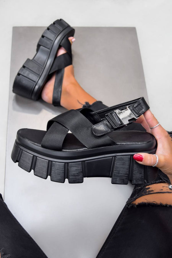 COSMIC Super Chunky Buckle Sandals - Black PU
