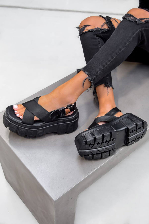 COSMIC Super Chunky Buckle Sandals - Black PU - 1
