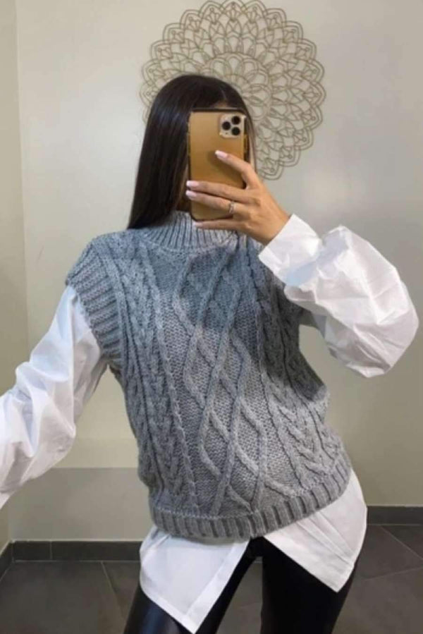 Cable Knit Sleeveless Knitted Top - Grey - 1