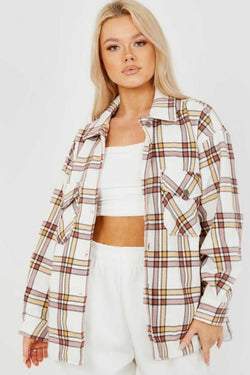Checked Shirt Shacket - Beige