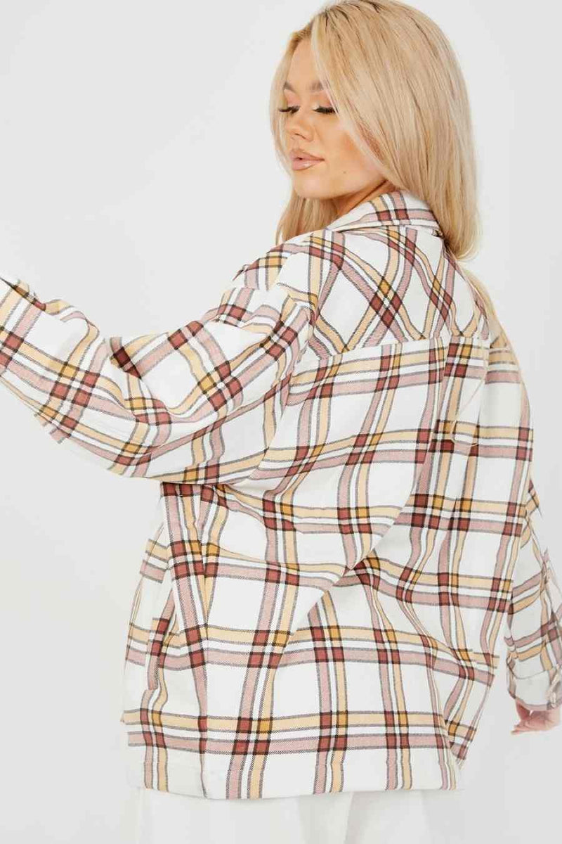 Checked Shirt Shacket - Beige - 1