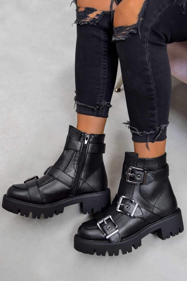 Chunky Buckle Ankle Boots - Black PU - 1