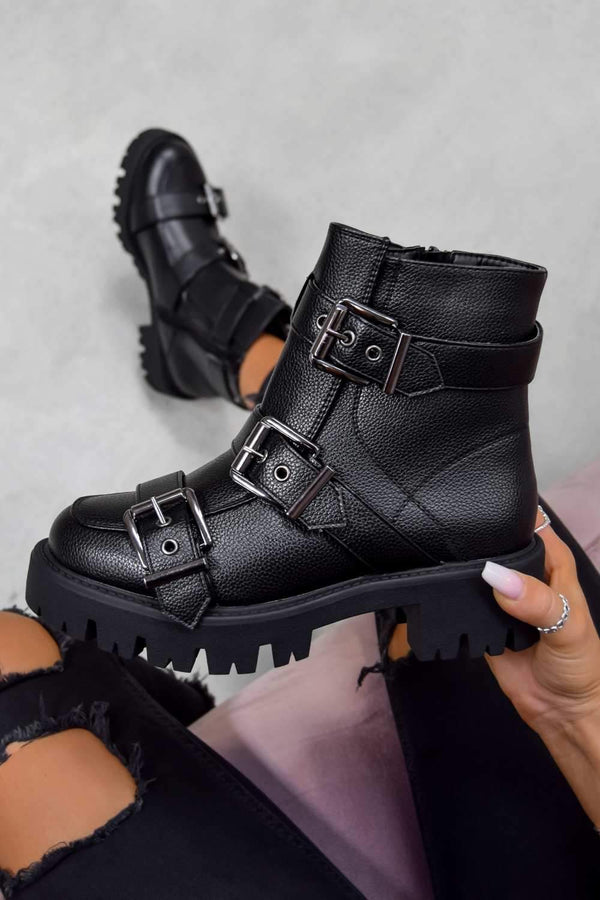 Chunky Buckle Ankle Boots - Black PU