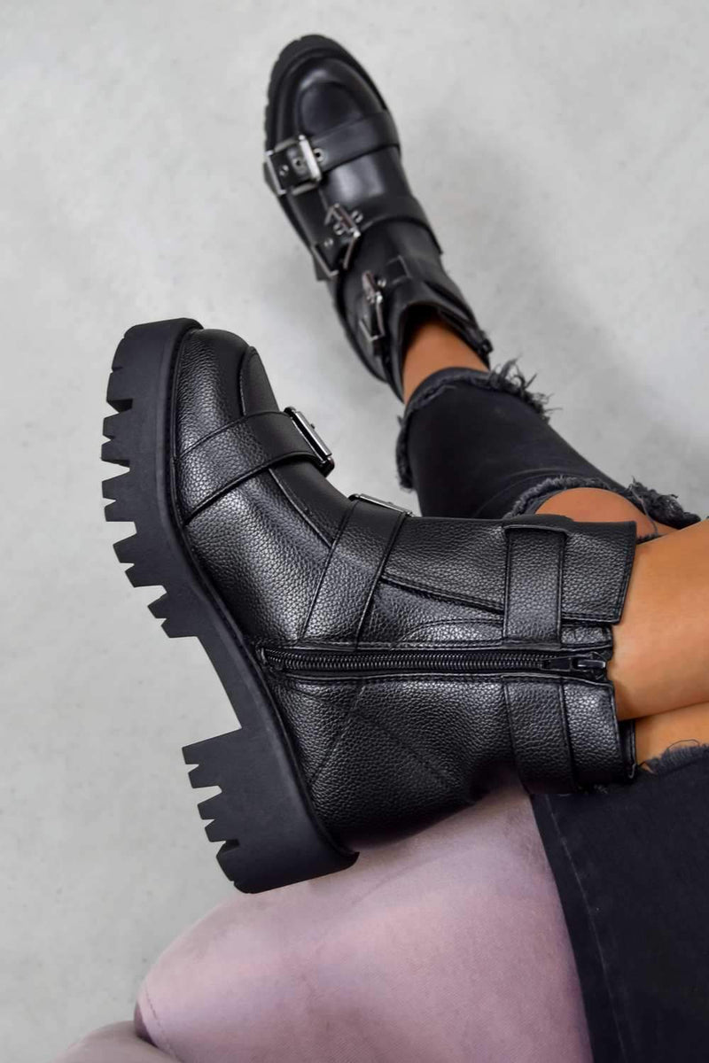 Chunky Buckle Ankle Boots - Black PU - 2