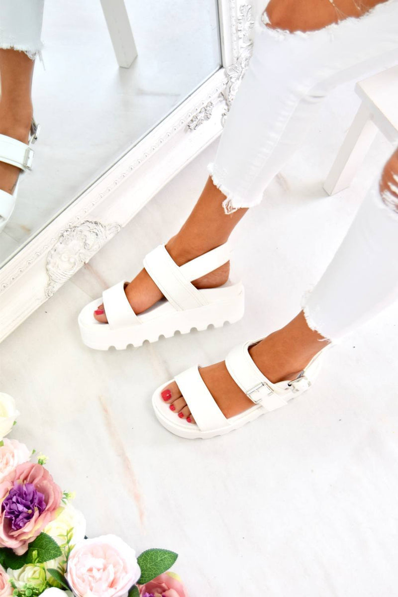 Chunky Cleated Platform Buckle Sandals - White - 3