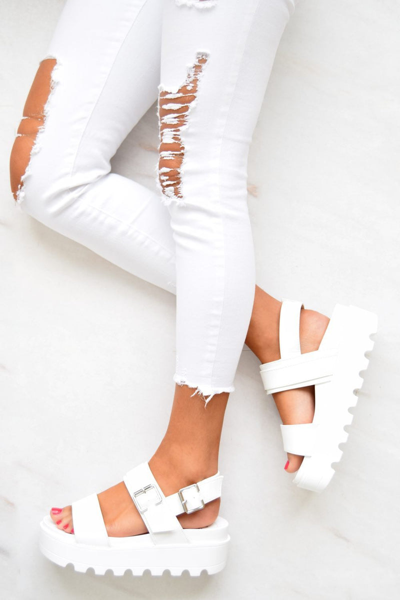Chunky Cleated Platform Buckle Sandals - White
