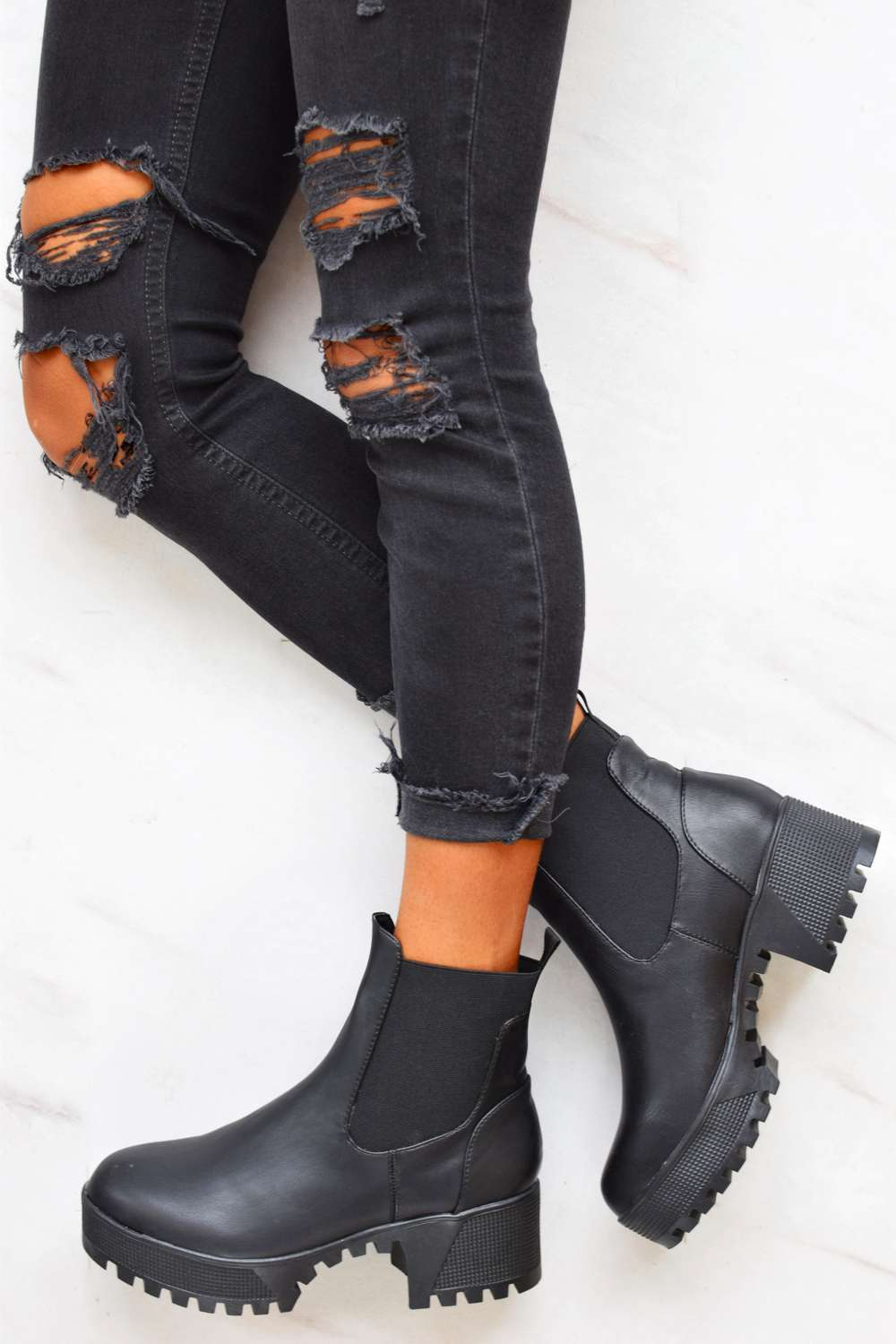 Pu Sole Kayo Ankle Black Chunky Cleated Boots oWQdxBCre