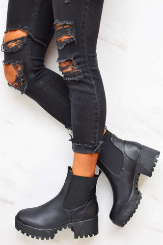 Chunky Cleated Sole Ankle Boots - Black PU