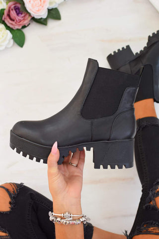Chunky Cleated Sole Ankle Boots - Black PU - 1