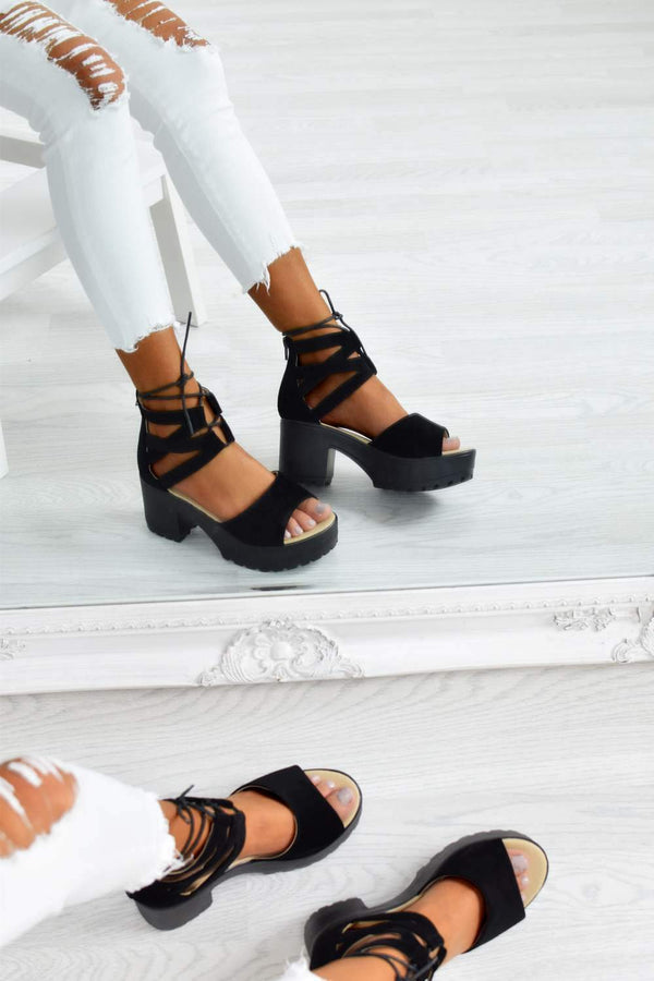 Chunky Platform Block Heel Lace Up Sandals - Black Faux Leather - 2