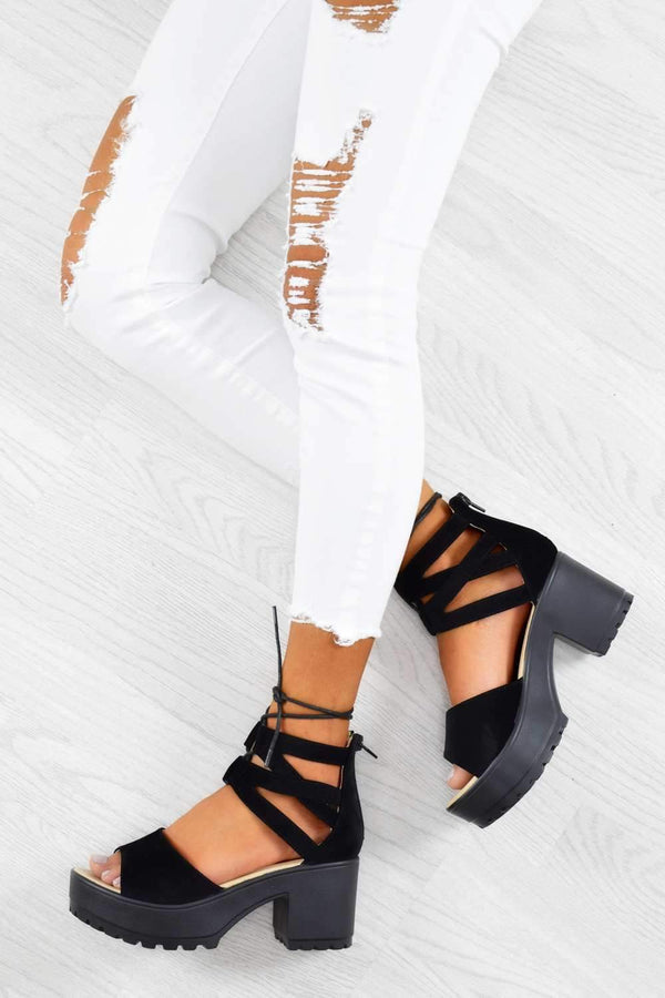 Chunky Platform Block Heel Lace Up Sandals - Black Faux Leather