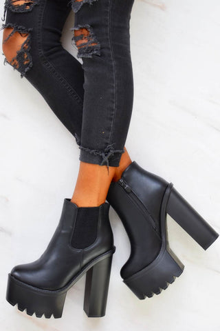 Chunky Platform Elasticated Ankle Boots - Black