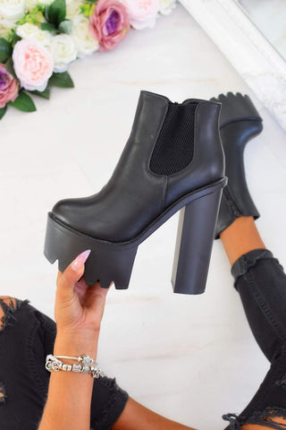 Chunky Platform Elasticated Ankle Boots - Black - 2