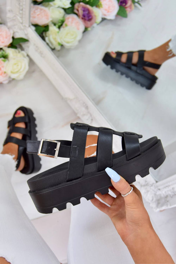 Chunky Platform Gladiator Sandals - Black Faux Leather - 1