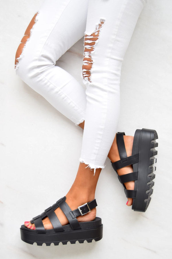 Chunky Platform Gladiator Sandals - Black Faux Leather