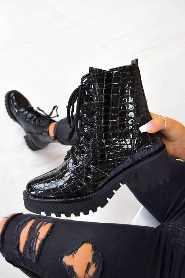 Chunky Platform Lace Up Ankle Boots - Black Croc